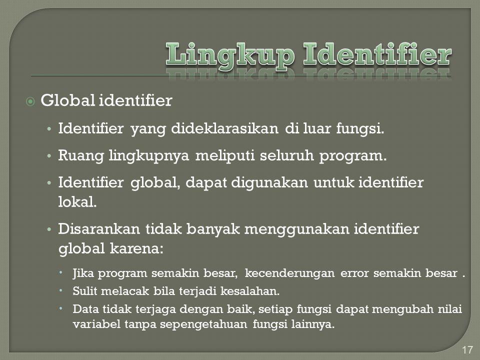  Global identifier Identifier yang dideklarasikan di luar fungsi.