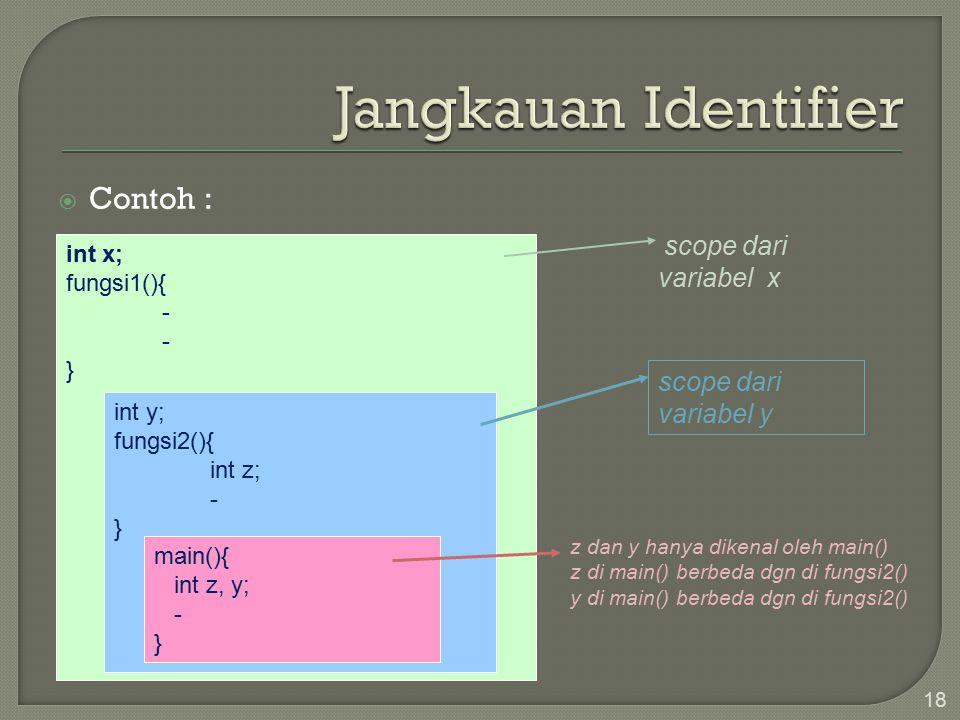  Contoh : 18 int x; fungsi1(){ - } int y; fungsi2(){ int z; - } main(){ int z, y; - } scope dari variabel x scope dari variabel y z dan y hanya dikenal oleh main() z di main() berbeda dgn di fungsi2() y di main() berbeda dgn di fungsi2()