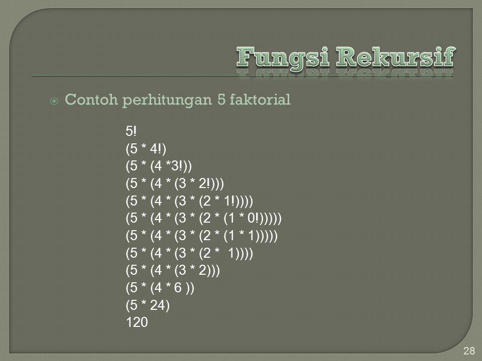  Contoh perhitungan 5 faktorial 28 5.