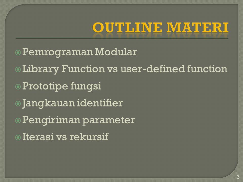  Pemrograman Modular  Library Function vs user-defined function  Prototipe fungsi  Jangkauan identifier  Pengiriman parameter  Iterasi vs rekursif 3