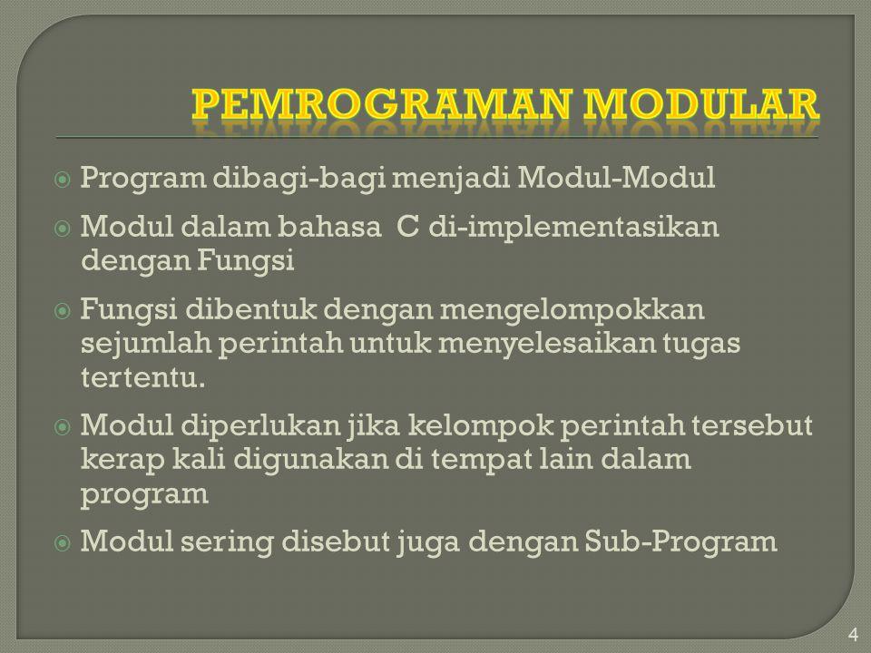  Program dibagi-bagi menjadi Modul-Modul  Modul dalam bahasa C di-implementasikan dengan Fungsi  Fungsi dibentuk dengan mengelompokkan sejumlah perintah untuk menyelesaikan tugas tertentu.