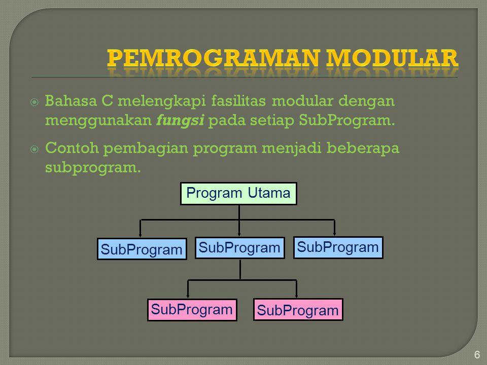  Bahasa C melengkapi fasilitas modular dengan menggunakan fungsi pada setiap SubProgram.