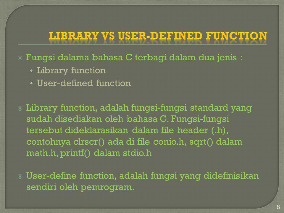  Fungsi dalama bahasa C terbagi dalam dua jenis : Library function User-defined function  Library function, adalah fungsi-fungsi standard yang sudah disediakan oleh bahasa C.
