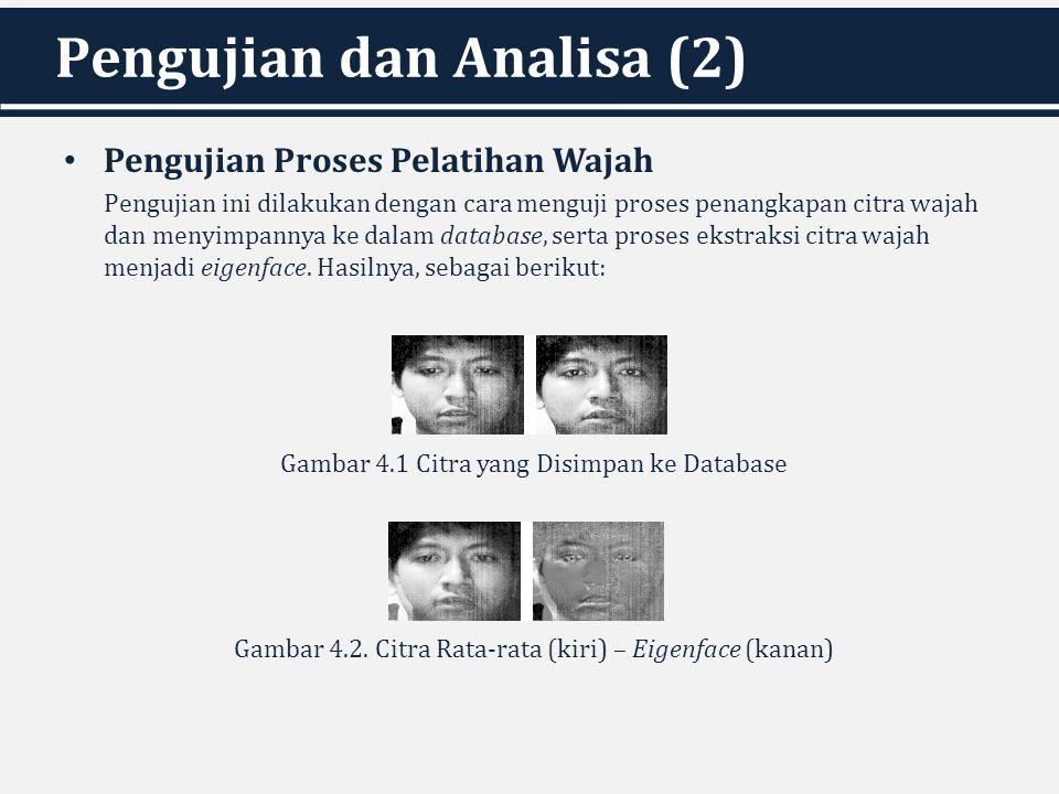 Pengujian dan Analisa (2) Pengujian Proses Pelatihan Wajah Pengujian ini dilakukan dengan cara menguji proses penangkapan citra wajah dan menyimpannya