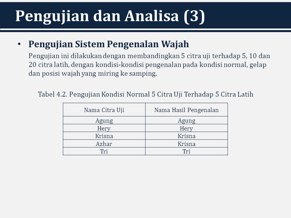 Pengujian dan Analisa (3) Pengujian Sistem Pengenalan Wajah Pengujian ini dilakukan dengan membandingkan 5 citra uji terhadap 5, 10 dan 20 citra latih