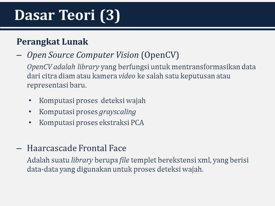 Dasar Teori (3) Perangkat Lunak – Open Source Computer Vision (OpenCV) OpenCV adalah library yang berfungsi untuk mentransformasikan data dari citra d