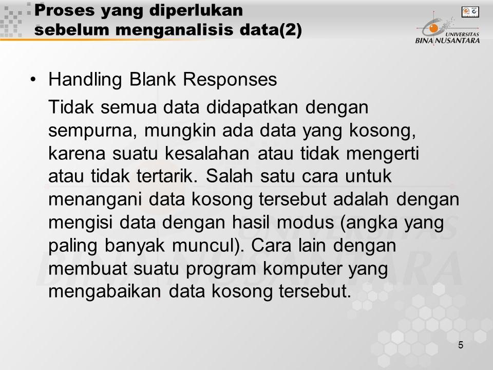 6 Proses yang dilakukan sebelum menganalisis data(3) Coding Data –Pemberian angka tertentu terhadap kolom yang menyangkut suatu keterangan hasil penelitian.