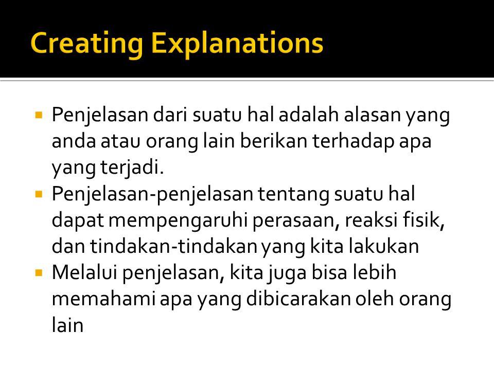  Penjelasan dari suatu hal adalah alasan yang anda atau orang lain berikan terhadap apa yang terjadi.  Penjelasan-penjelasan tentang suatu hal dapat