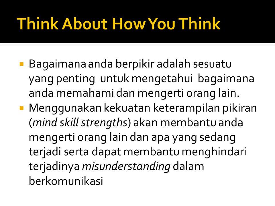  Bagaimana anda berpikir adalah sesuatu yang penting untuk mengetahui bagaimana anda memahami dan mengerti orang lain.  Menggunakan kekuatan keteram