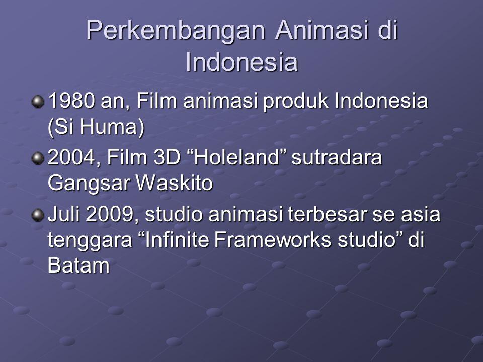 Perkembangan Animasi di Indonesia 1980 an, Film animasi produk Indonesia (Si Huma) 2004, Film 3D Holeland sutradara Gangsar Waskito Juli 2009, studio animasi terbesar se asia tenggara Infinite Frameworks studio di Batam