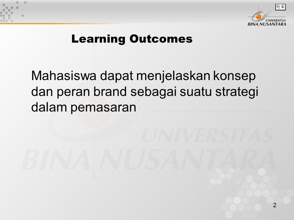 2 Learning Outcomes Mahasiswa dapat menjelaskan konsep dan peran brand sebagai suatu strategi dalam pemasaran