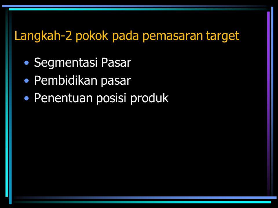 Langkah-2 pokok pada pemasaran target Segmentasi Pasar Pembidikan pasar Penentuan posisi produk