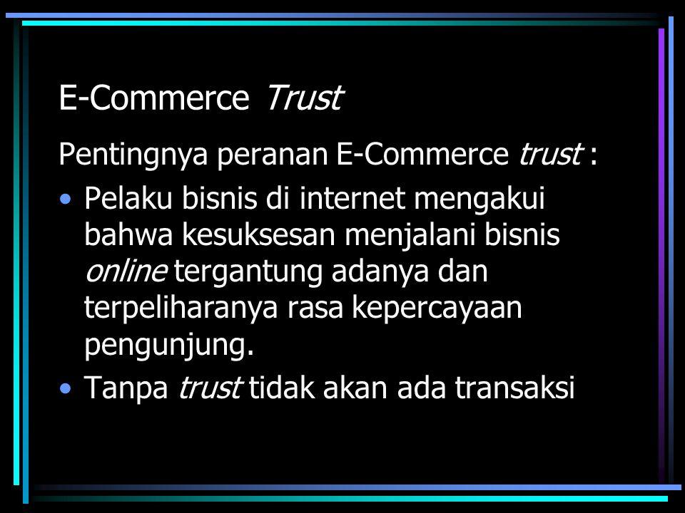E-Commerce Trust Pentingnya peranan E-Commerce trust : Pelaku bisnis di internet mengakui bahwa kesuksesan menjalani bisnis online tergantung adanya dan terpeliharanya rasa kepercayaan pengunjung.