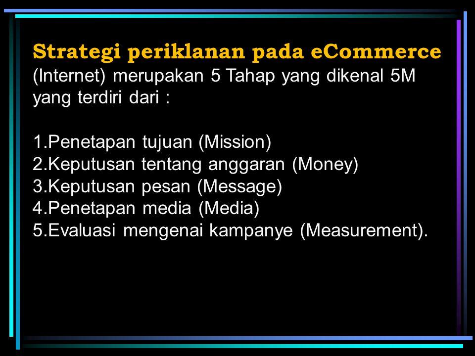 Strategi periklanan pada eCommerce (Internet) merupakan 5 Tahap yang dikenal 5M yang terdiri dari : 1.Penetapan tujuan (Mission) 2.Keputusan tentang anggaran (Money) 3.Keputusan pesan (Message) 4.Penetapan media (Media) 5.Evaluasi mengenai kampanye (Measurement).