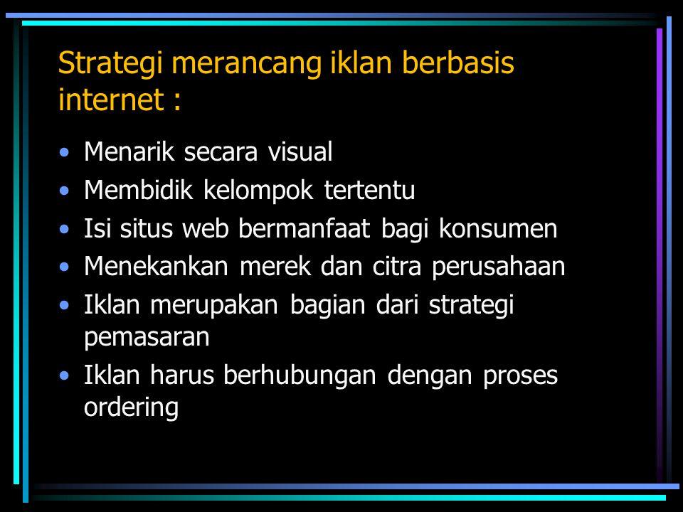 Strategi merancang iklan berbasis internet : Menarik secara visual Membidik kelompok tertentu Isi situs web bermanfaat bagi konsumen Menekankan merek dan citra perusahaan Iklan merupakan bagian dari strategi pemasaran Iklan harus berhubungan dengan proses ordering