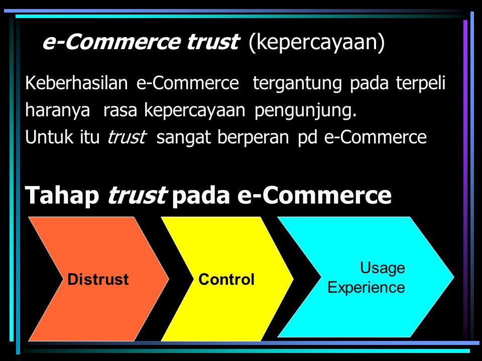 e-Commerce trust (kepercayaan) Keberhasilan e-Commerce tergantung pada terpeli haranya rasa kepercayaan pengunjung. Untuk itu trust sangat berperan pd