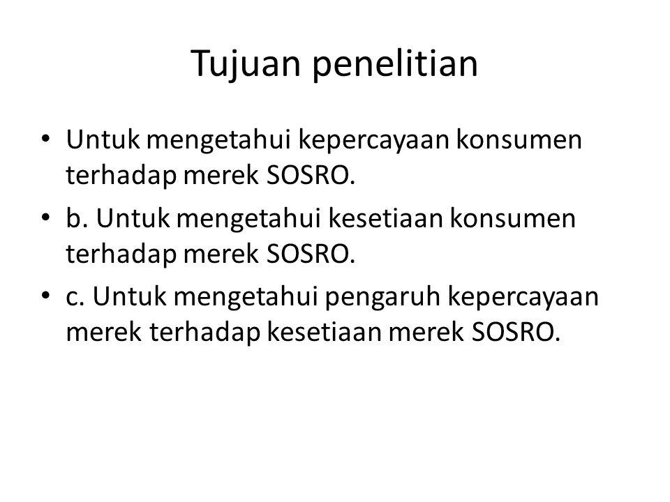 Tujuan penelitian Untuk mengetahui kepercayaan konsumen terhadap merek SOSRO. b. Untuk mengetahui kesetiaan konsumen terhadap merek SOSRO. c. Untuk me
