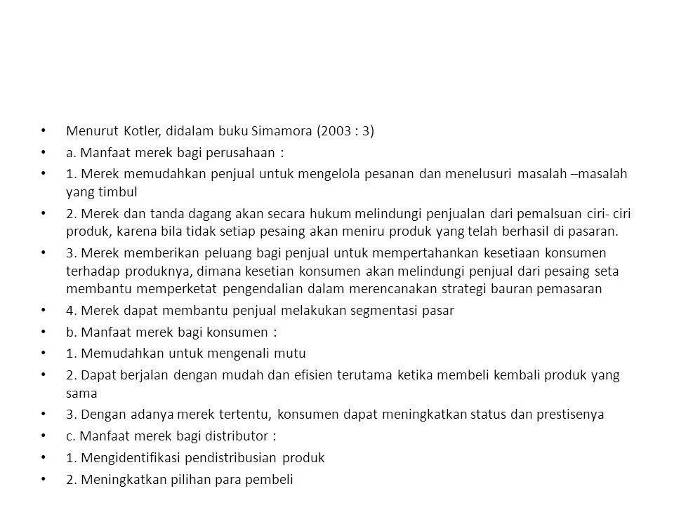 Menurut Kotler, didalam buku Simamora (2003 : 3) a.