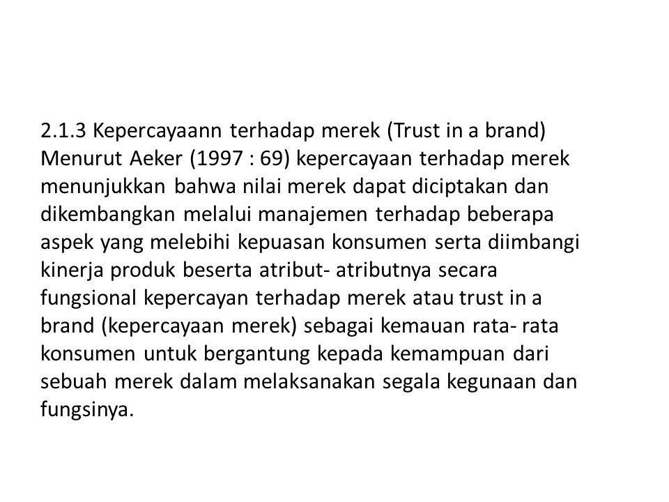 2.1.3 Kepercayaann terhadap merek (Trust in a brand) Menurut Aeker (1997 : 69) kepercayaan terhadap merek menunjukkan bahwa nilai merek dapat diciptak