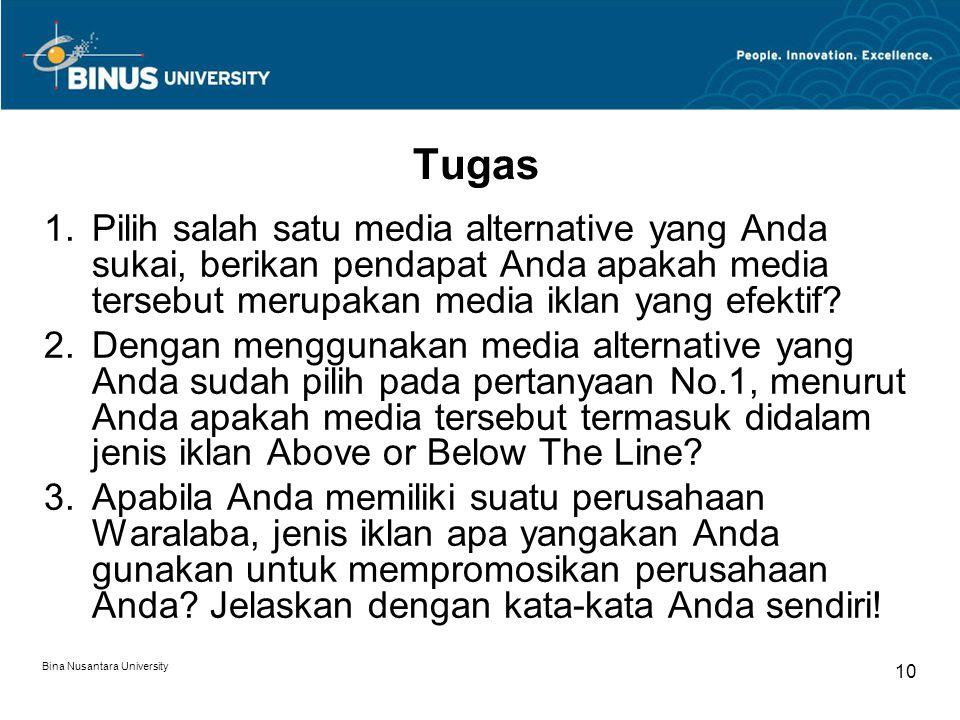 Bina Nusantara University 10 Tugas 1.Pilih salah satu media alternative yang Anda sukai, berikan pendapat Anda apakah media tersebut merupakan media i