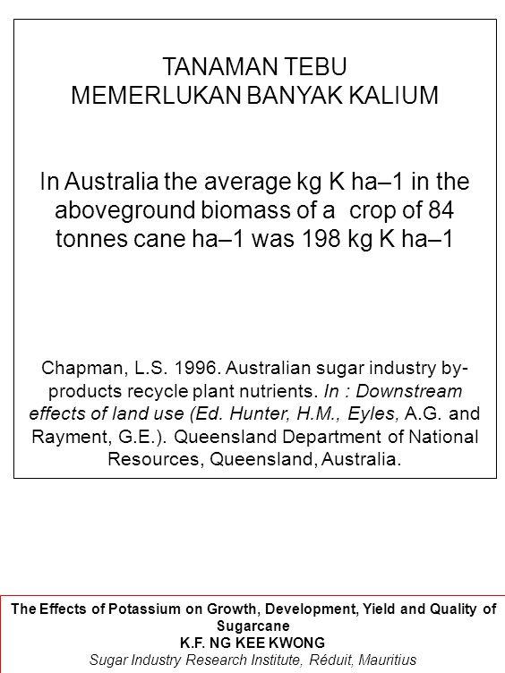 TANAMAN TEBU MEMERLUKAN BANYAK KALIUM In Australia the average kg K ha–1 in the aboveground biomass of a crop of 84 tonnes cane ha–1 was 198 kg K ha–1