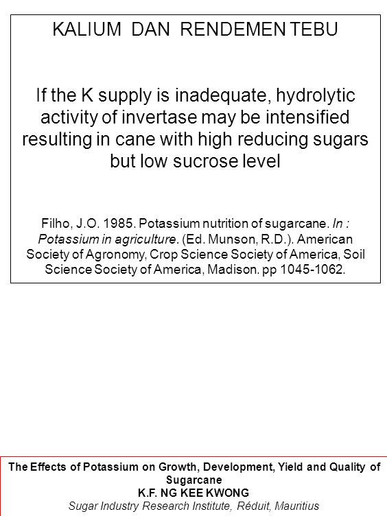 KALIUM DAN RENDEMEN TEBU If the K supply is inadequate, hydrolytic activity of invertase may be intensified resulting in cane with high reducing sugar