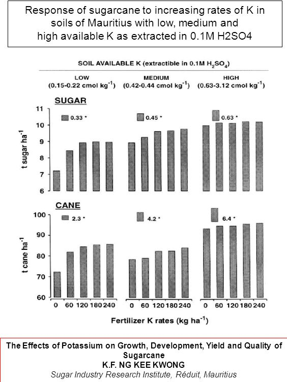 Response of sugarcane to increasing rates of K in soils of Mauritius with low, medium and high available K as extracted in 0.1M H2SO4 The Effects of Potassium on Growth, Development, Yield and Quality of Sugarcane K.F.
