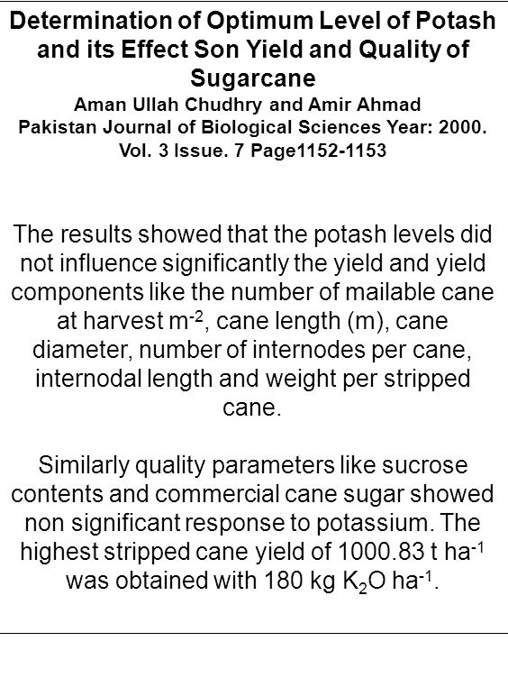 Determination of Optimum Level of Potash and its Effect Son Yield and Quality of Sugarcane Aman Ullah Chudhry and Amir Ahmad Pakistan Journal of Biolo