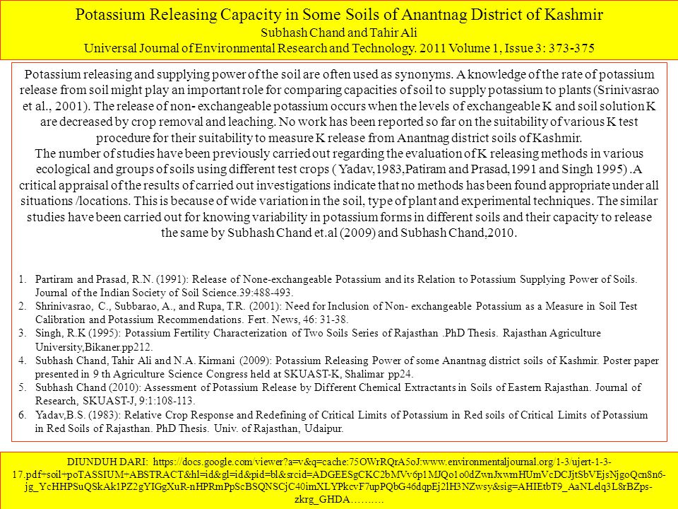 Potassium Releasing Capacity in Some Soils of Anantnag District of Kashmir Subhash Chand and Tahir Ali Universal Journal of Environmental Research and