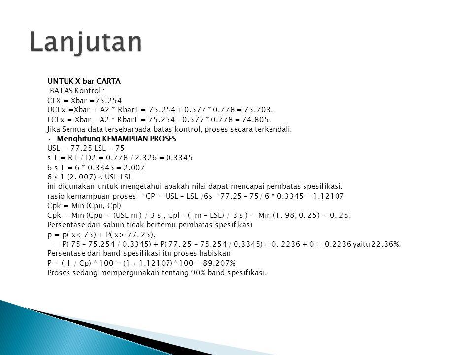 UNTUK X bar CARTA BATAS Kontrol : CLX = Xbar =75.254 UCLx =Xbar + A2 * Rbar1 = 75.254 + 0.577 * 0.778 = 75.703.