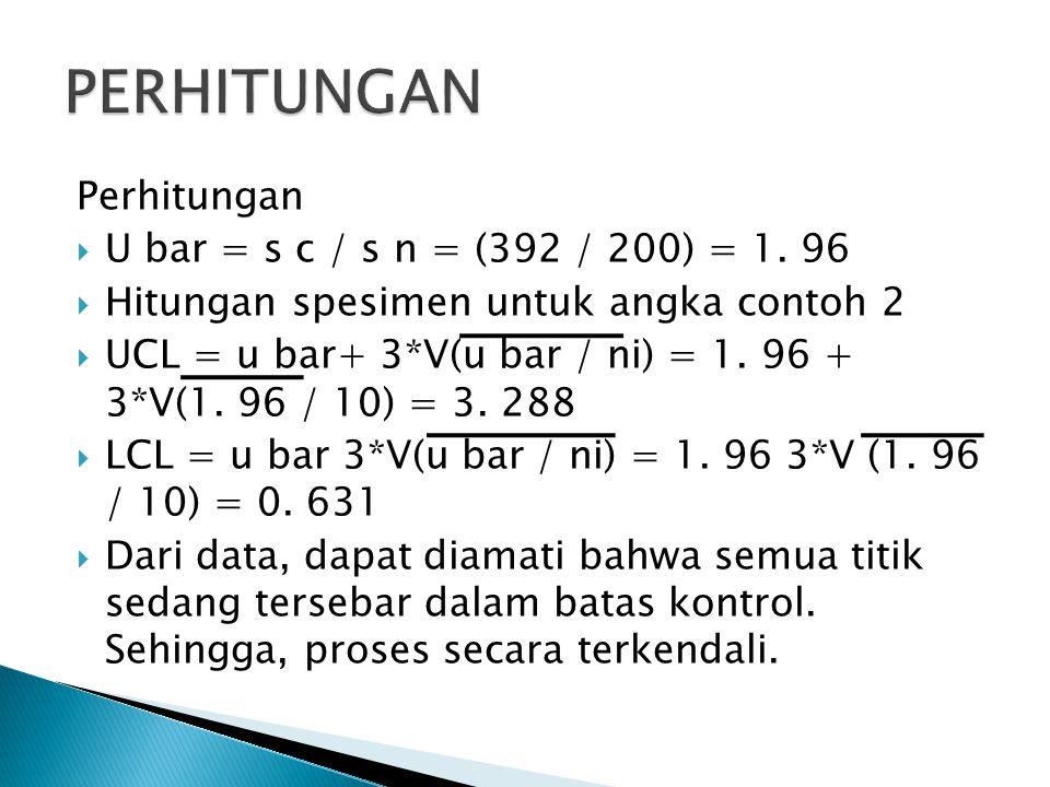 Perhitungan  U bar = s c / s n = (392 / 200) = 1.