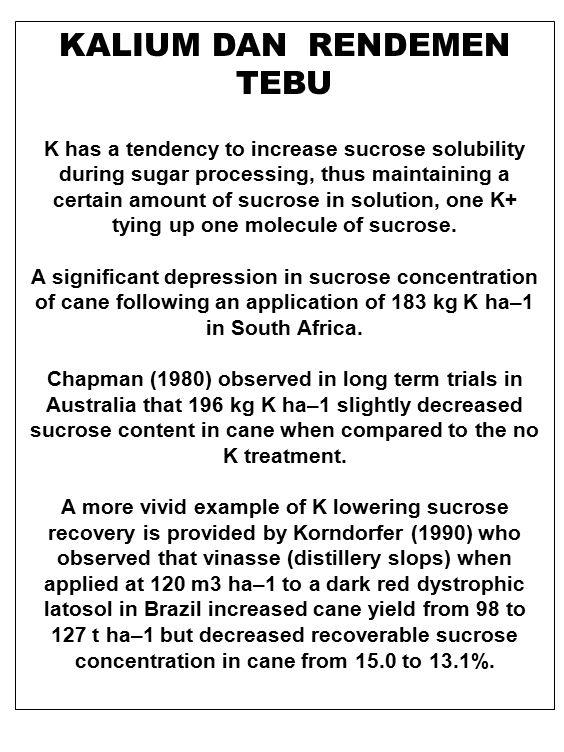 KALIUM DAN RENDEMEN TEBU K has a tendency to increase sucrose solubility during sugar processing, thus maintaining a certain amount of sucrose in solu
