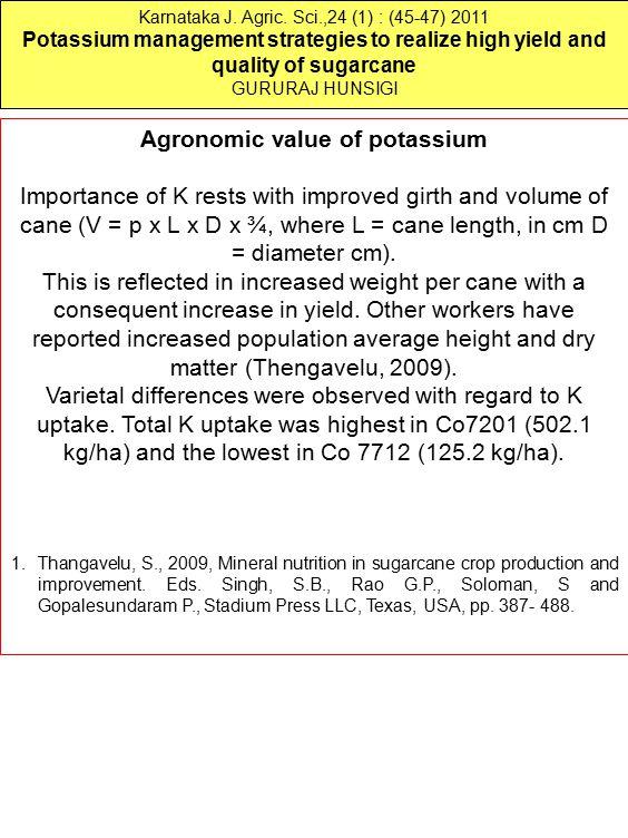 Karnataka J. Agric. Sci.,24 (1) : (45-47) 2011 Potassium management strategies to realize high yield and quality of sugarcane GURURAJ HUNSIGI Agronomi