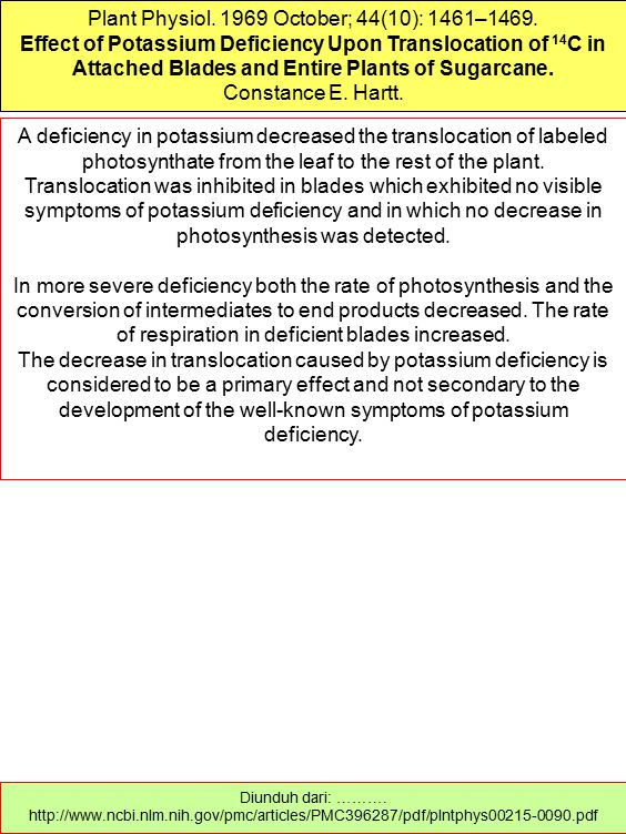 Plant Physiol. 1969 October; 44(10): 1461–1469. Effect of Potassium Deficiency Upon Translocation of 14 C in Attached Blades and Entire Plants of Suga
