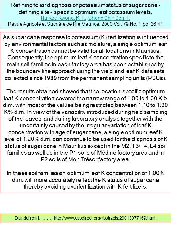 Refining foliar diagnosis of potassium status of sugar cane - defining site - specific optimum leaf potassium levels. Ng Kee Kwong, K. F.Ng Kee Kwong,