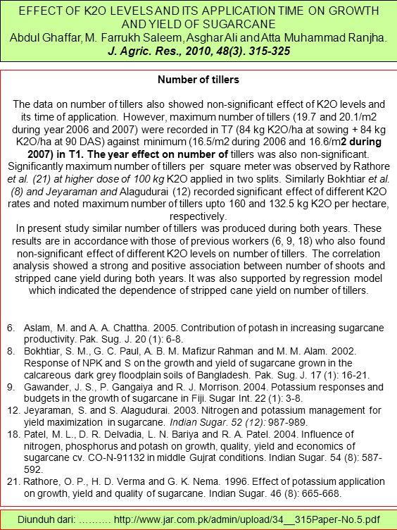 EFFECT OF K2O LEVELS AND ITS APPLICATION TIME ON GROWTH AND YIELD OF SUGARCANE Abdul Ghaffar, M. Farrukh Saleem, Asghar Ali and Atta Muhammad Ranjha.