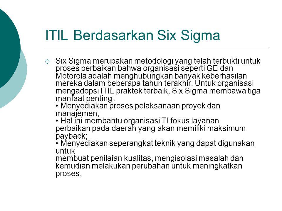 ITIL Berdasarkan Six Sigma  Six Sigma merupakan metodologi yang telah terbukti untuk proses perbaikan bahwa organisasi seperti GE dan Motorola adalah