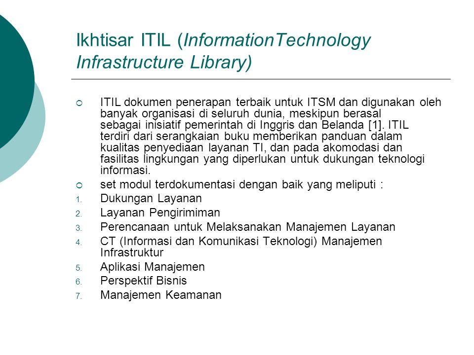 Ikhtisar ITIL (InformationTechnology Infrastructure Library)  ITIL dokumen penerapan terbaik untuk ITSM dan digunakan oleh banyak organisasi di selur