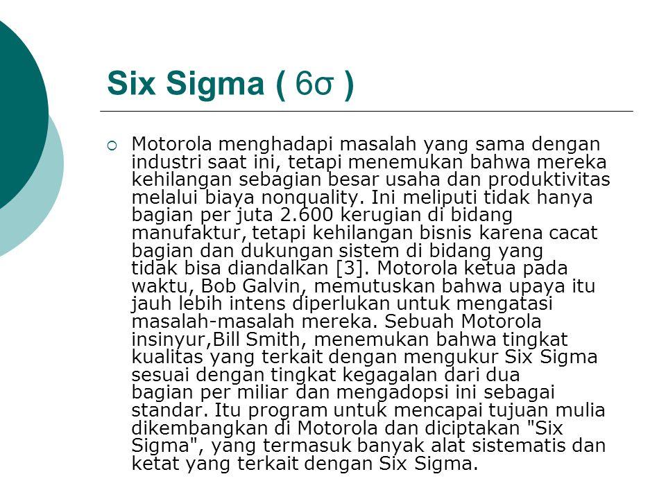 Six Sigma ( 6σ ) (Lanjutan)  Six Sigma merupakan metodologi perbaikan proses yang organisasi berfokus pada kebutuhan pelanggan, proses keselarasan, kekakuan analitis, dan dilaksanakan tepat waktu.