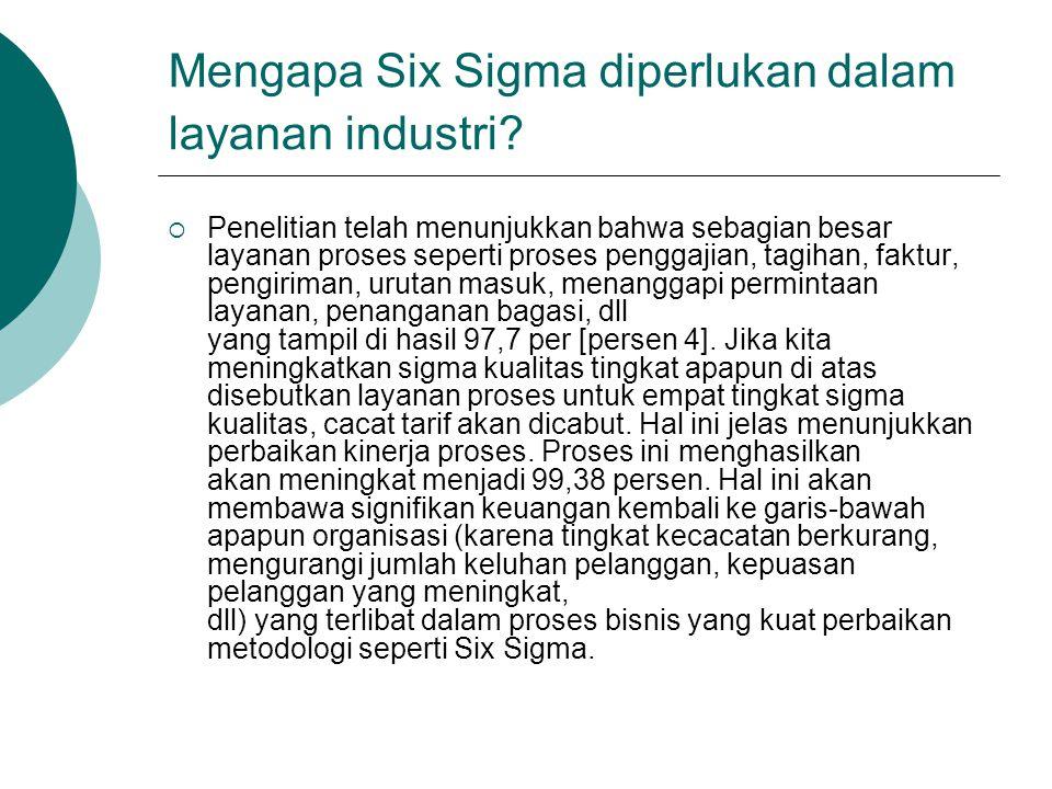Mengapa Six Sigma diperlukan dalam layanan industri?  Penelitian telah menunjukkan bahwa sebagian besar layanan proses seperti proses penggajian, tag