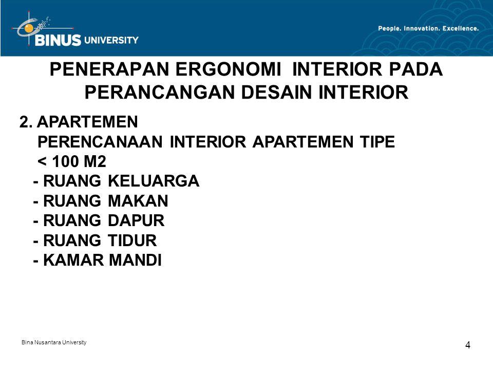 Bina Nusantara University 4 PENERAPAN ERGONOMI INTERIOR PADA PERANCANGAN DESAIN INTERIOR 2. APARTEMEN PERENCANAAN INTERIOR APARTEMEN TIPE < 100 M2 - R