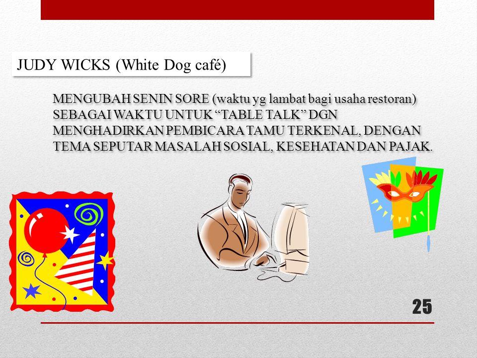 25 JUDY WICKS (White Dog café) MENGUBAH SENIN SORE (waktu yg lambat bagi usaha restoran) SEBAGAI WAKTU UNTUK TABLE TALK DGN MENGHADIRKAN PEMBICARA TAMU TERKENAL, DENGAN TEMA SEPUTAR MASALAH SOSIAL, KESEHATAN DAN PAJAK.