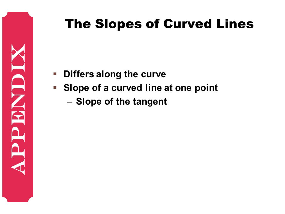 The Slopes of Curved Lines  Differs along the curve  Slope of a curved line at one point –Slope of the tangent Appendix