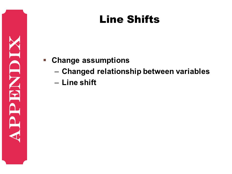 Line Shifts  Change assumptions –Changed relationship between variables –Line shift Appendix