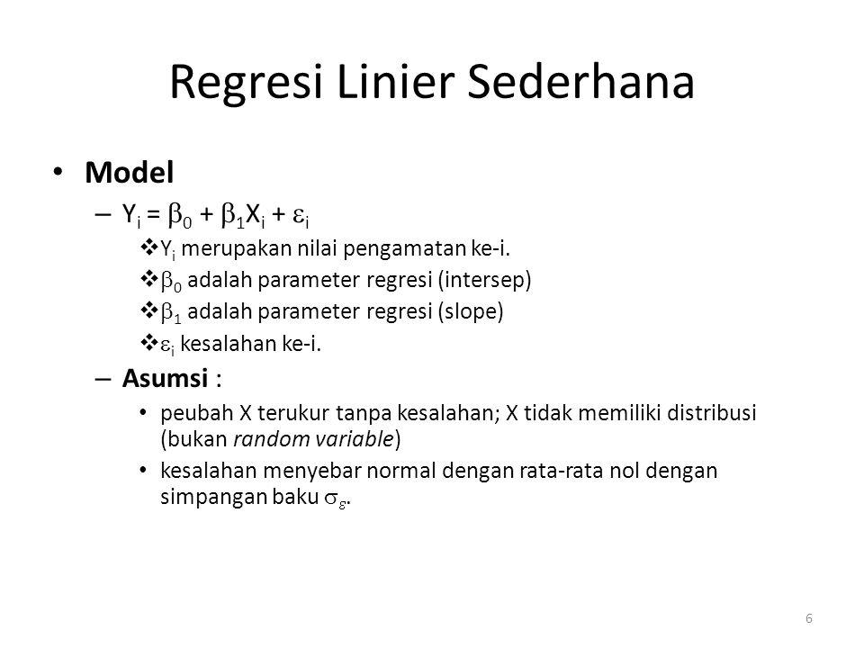 6 Regresi Linier Sederhana Model – Y i =  0 +  1 X i +  i  Y i merupakan nilai pengamatan ke-i.   0 adalah parameter regresi (intersep)   1 ad