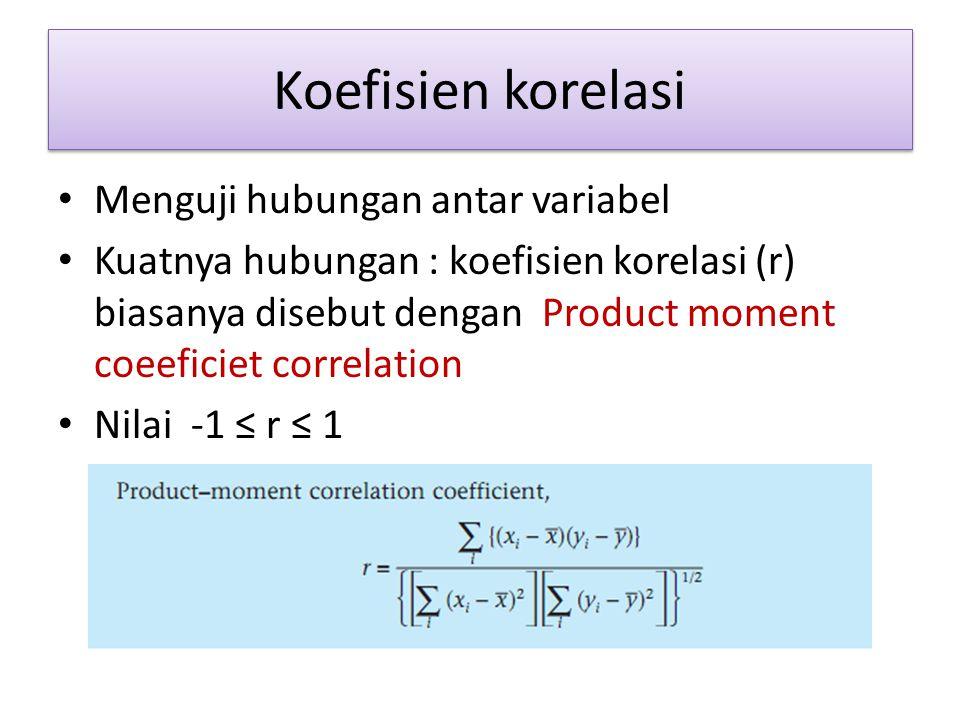 Koefisien korelasi Menguji hubungan antar variabel Kuatnya hubungan : koefisien korelasi (r) biasanya disebut dengan Product moment coeeficiet correla