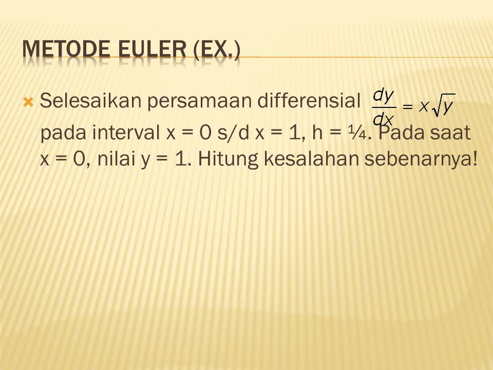  Selesaikan persamaan differensial pada interval x = 0 s/d x = 1, h = ¼. Pada saat x = 0, nilai y = 1. Hitung kesalahan sebenarnya!