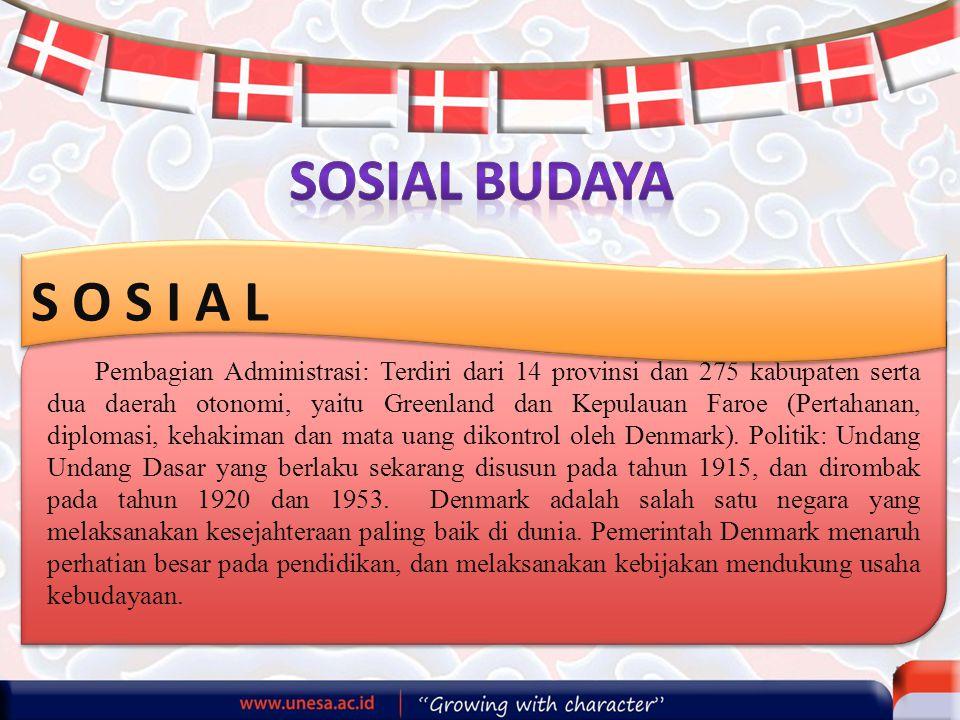 Pembagian Administrasi: Terdiri dari 14 provinsi dan 275 kabupaten serta dua daerah otonomi, yaitu Greenland dan Kepulauan Faroe (Pertahanan, diplomasi, kehakiman dan mata uang dikontrol oleh Denmark).