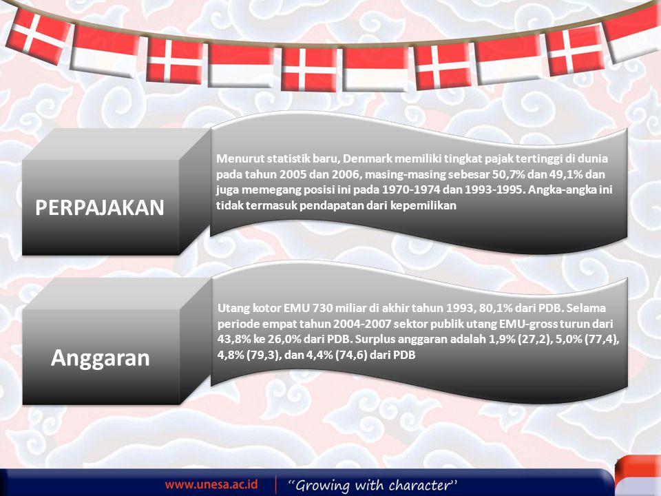 Menurut statistik baru, Denmark memiliki tingkat pajak tertinggi di dunia pada tahun 2005 dan 2006, masing-masing sebesar 50,7% dan 49,1% dan juga memegang posisi ini pada 1970-1974 dan 1993-1995.