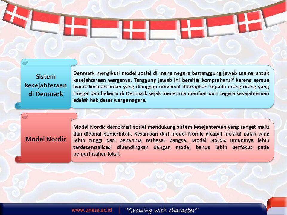 Denmark mengikuti model sosial di mana negara bertanggung jawab utama untuk kesejahteraan warganya. Tanggung jawab ini bersifat komprehensif karena se